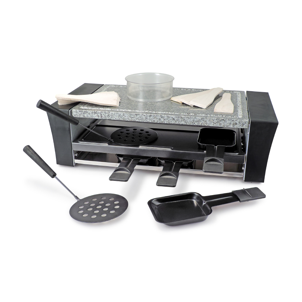 swissmar 8 person locarno pizza raclette party grill with granite stone. Black Bedroom Furniture Sets. Home Design Ideas